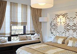 Фото 2 Шторы, дизайн на заказ для светлой спальни в бежевом цвете
