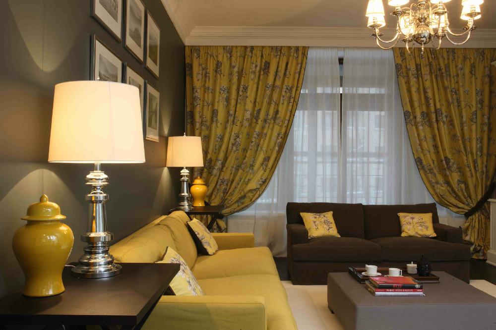 много желтые шторы в гостиную фото сделал несколько