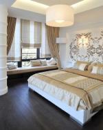 Шторы из бархата в современном интерьере спальни